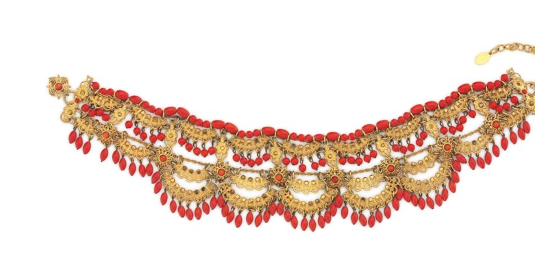 A CORAL BEAD NECKLACE, BY BARR
