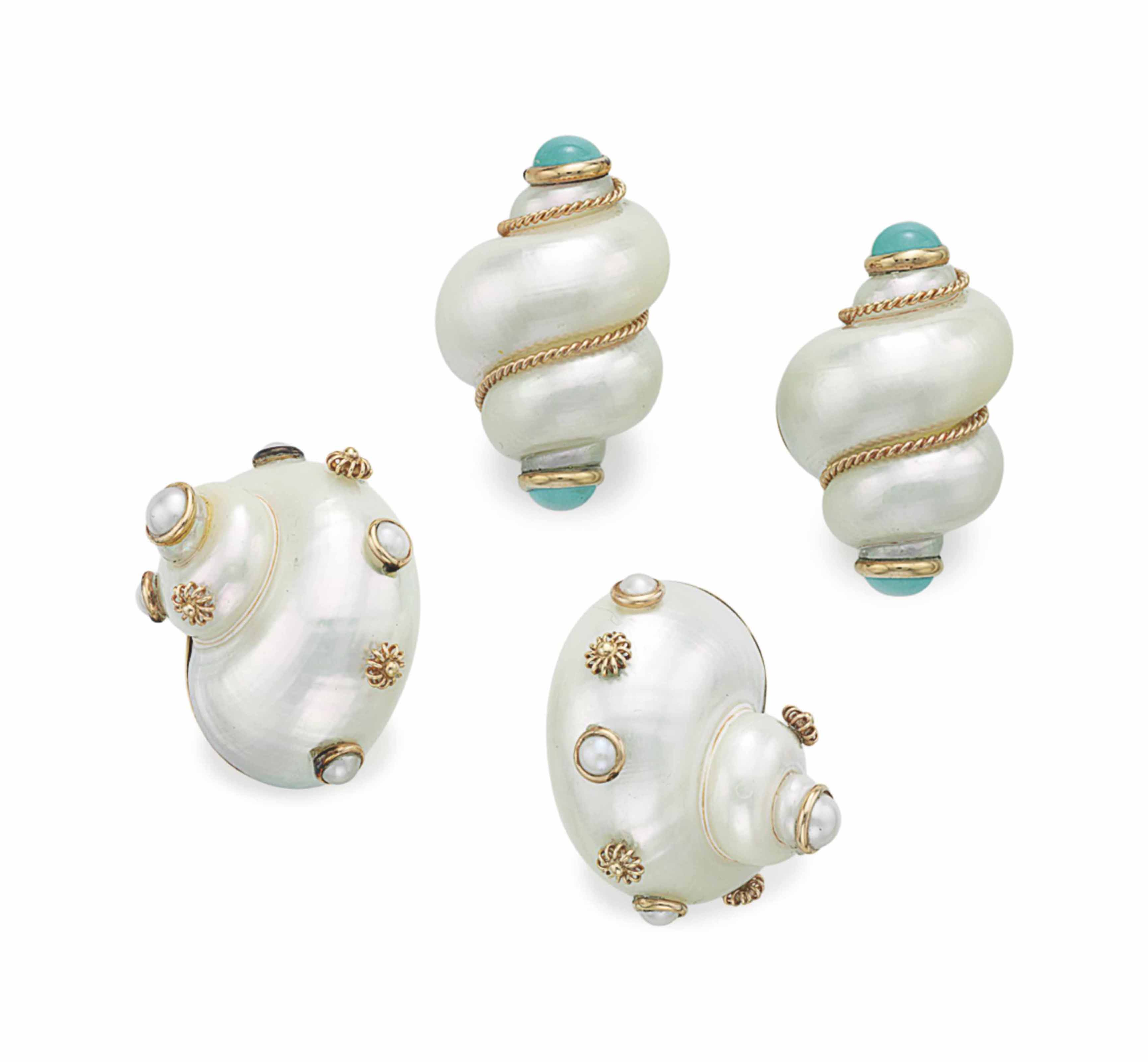 TWO PAIRS OF SHELL AND GOLD EAR CLIPS, BY MAZ