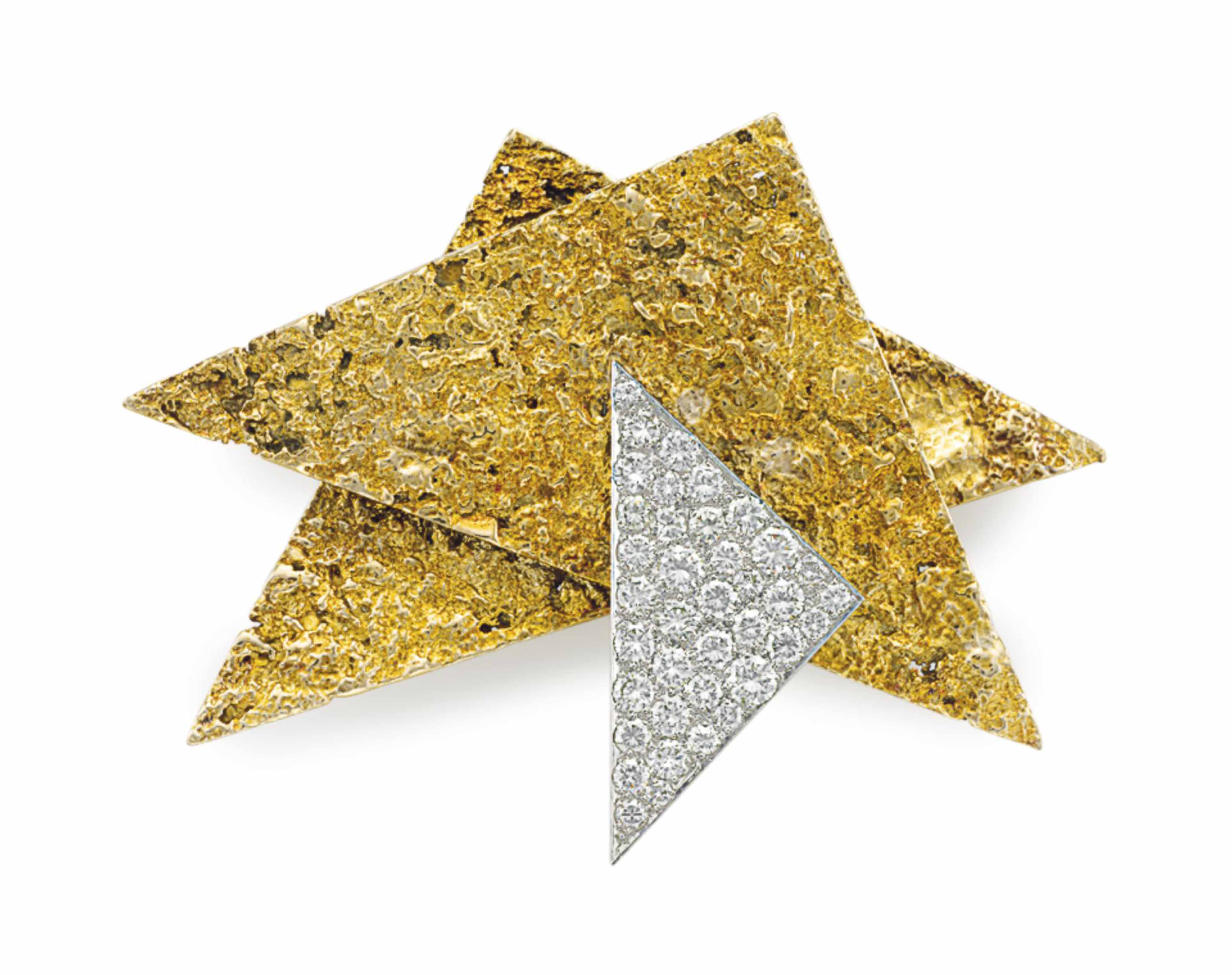 A DIAMOND, GOLD AND PLATINUM BROOCH, BY MARIANNE OSTIER