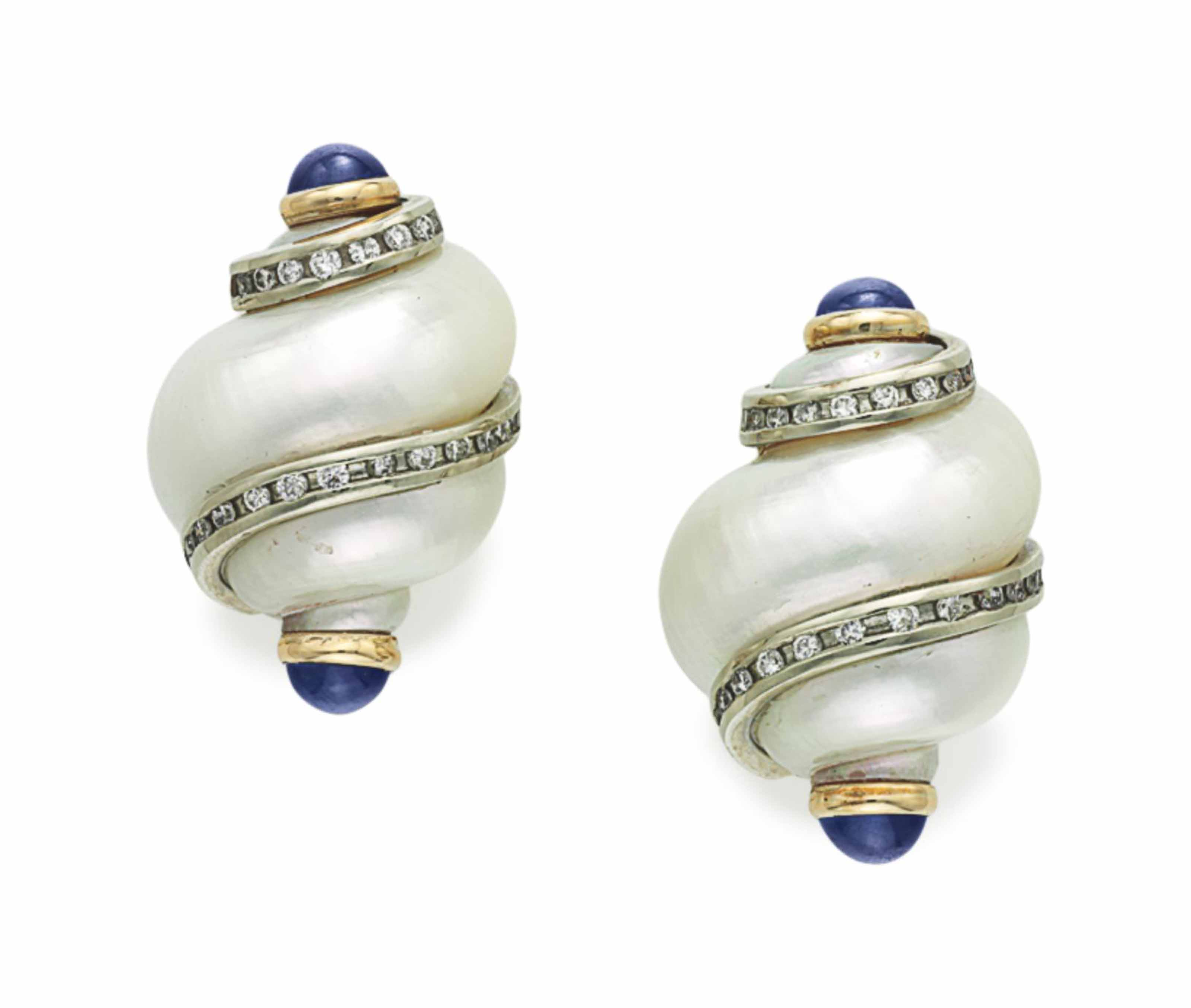 A PAIR OF SHELL, DIAMOND AND SAPPHIRE EAR CLIPS, BY MAZ
