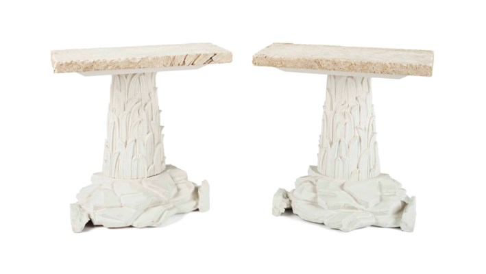 A PAIR OF PLASTER AND STONE CO