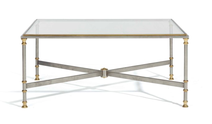 A FRENCH BRUSHED STEEL, BRASS