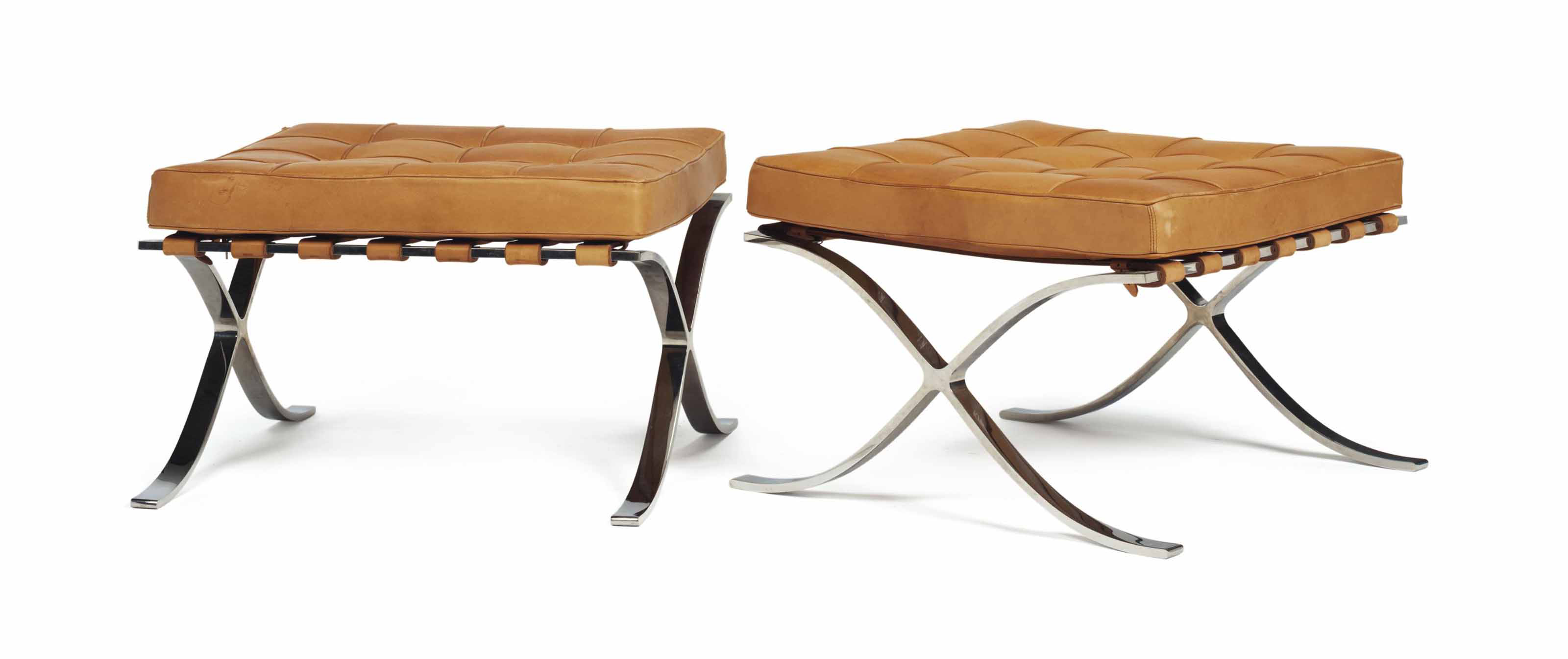 A PAIR OF STAINLESS STEEL AND TAN LEATHER 'BARCELONA' STOOLS
