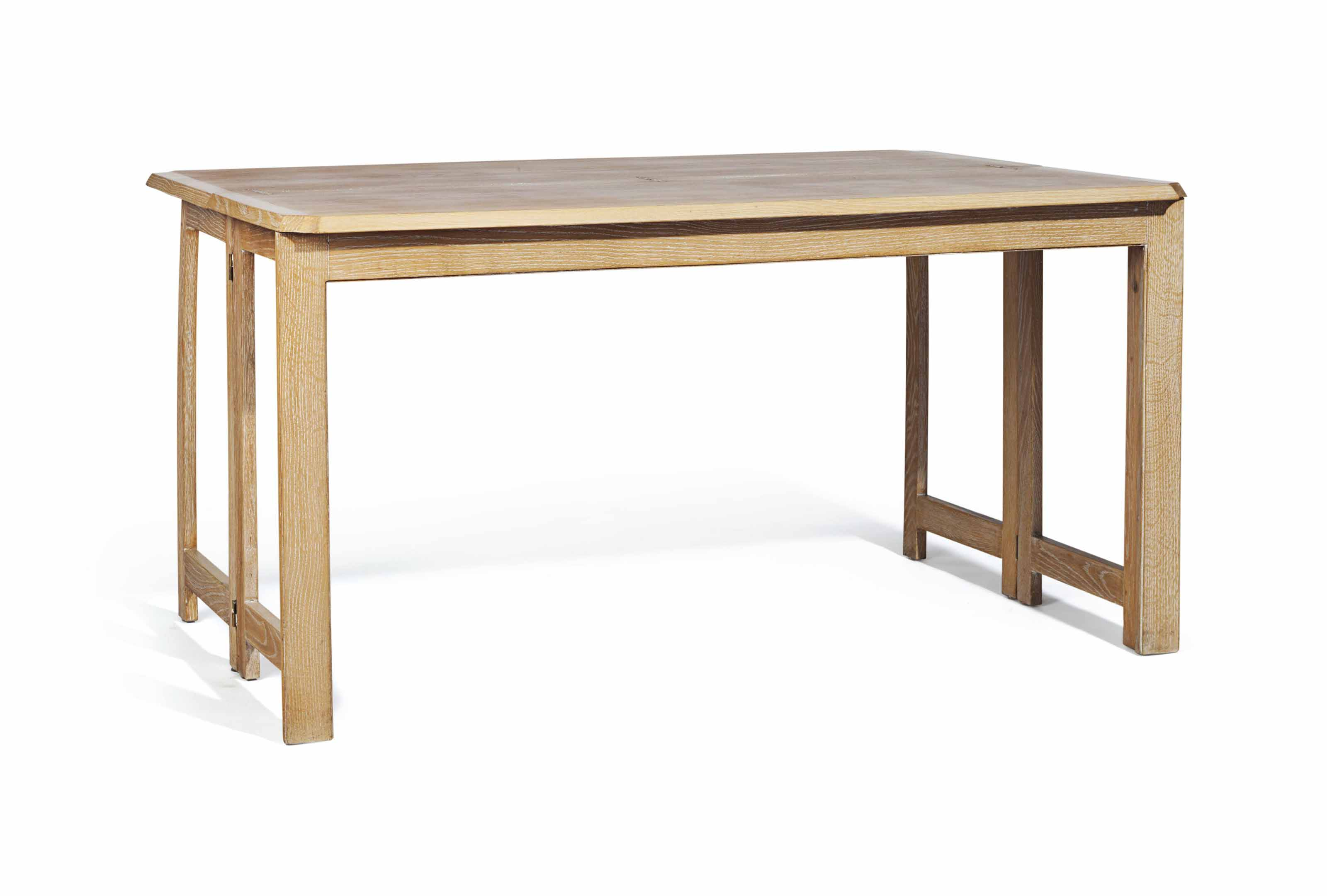 A FRENCH LIMED OAK FOLDING CONSOLE TABLE