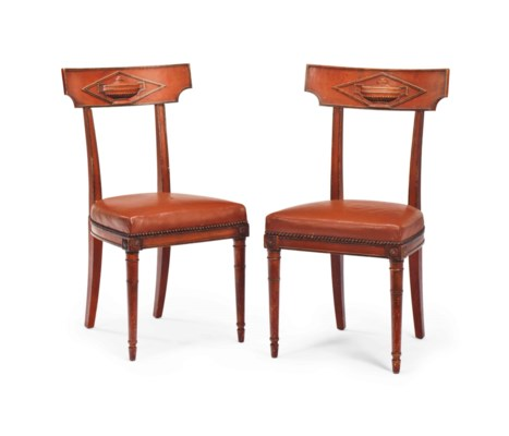 A PAIR OF FRENCH RED-PAINTED A