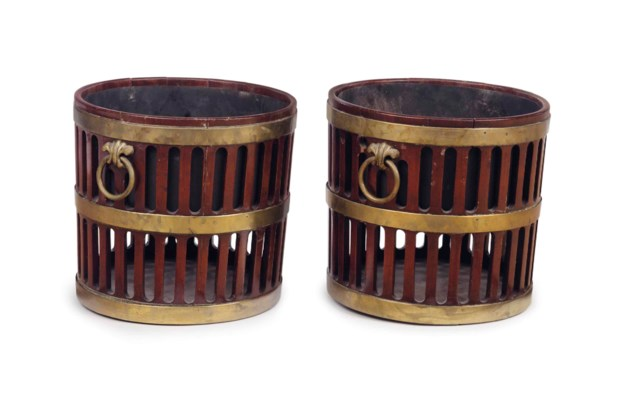 A PAIR OF GEORGE III BRASS-BOU