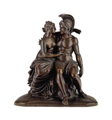 A PATINATED-BRONZE FIGURAL GRO