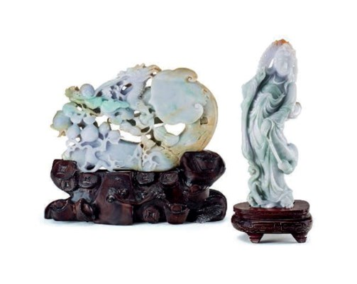 TWO CHINESE LAVENDER JADEITE C