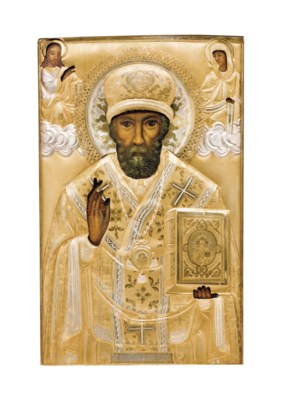 A PARCEL-GILT SILVER ICON OF S