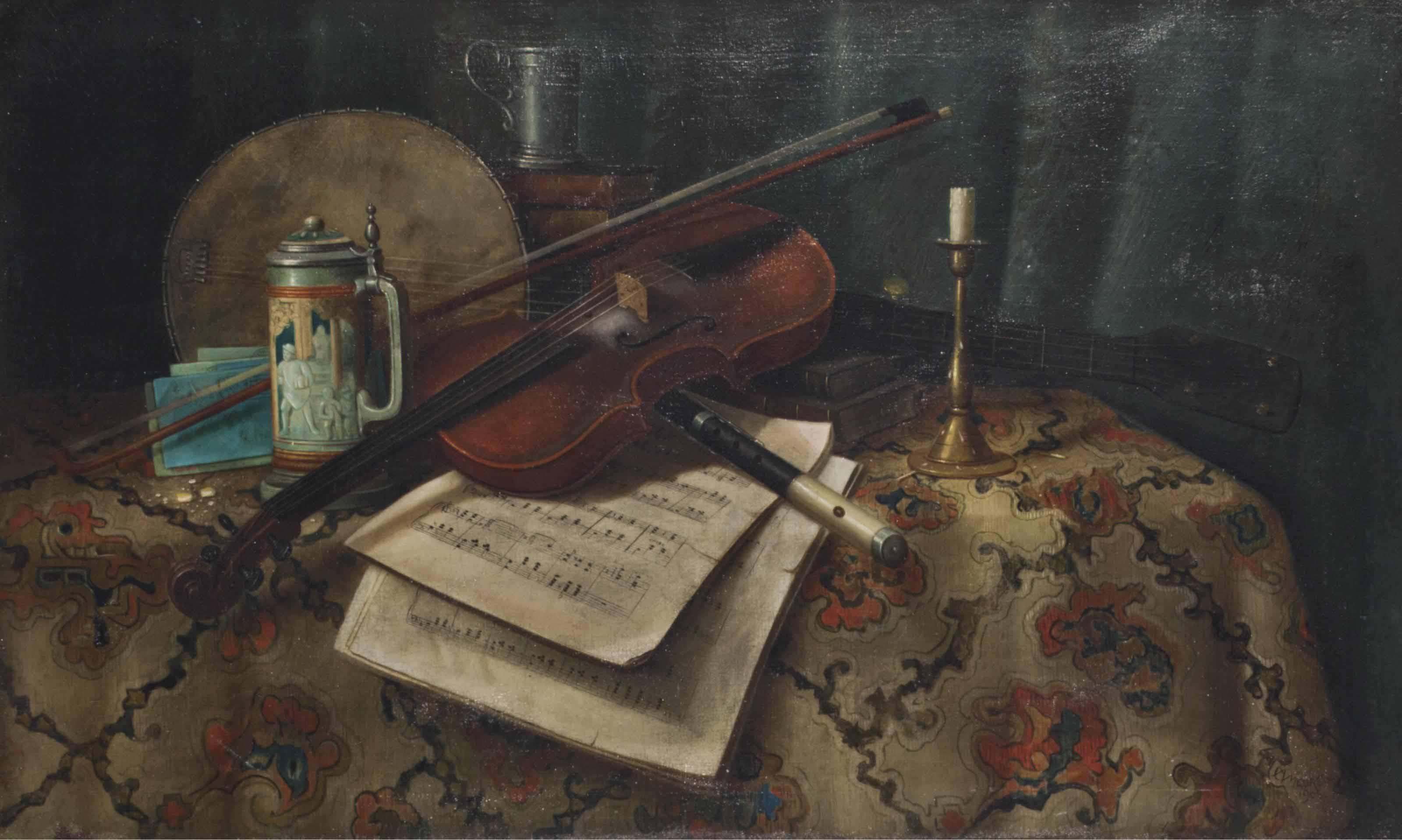 Still life with violin, flute and banjo