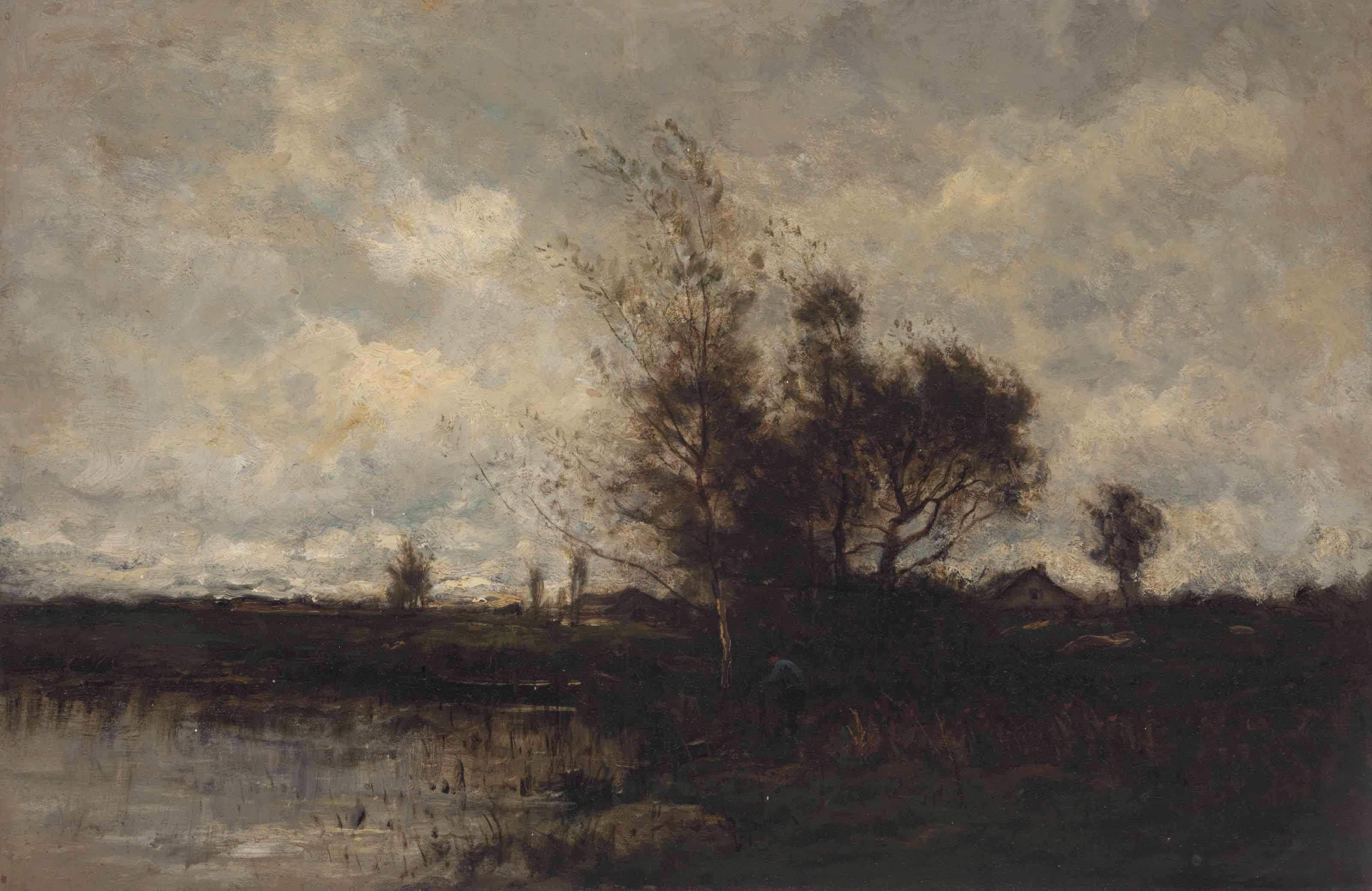 Landscape with figure along water's edge