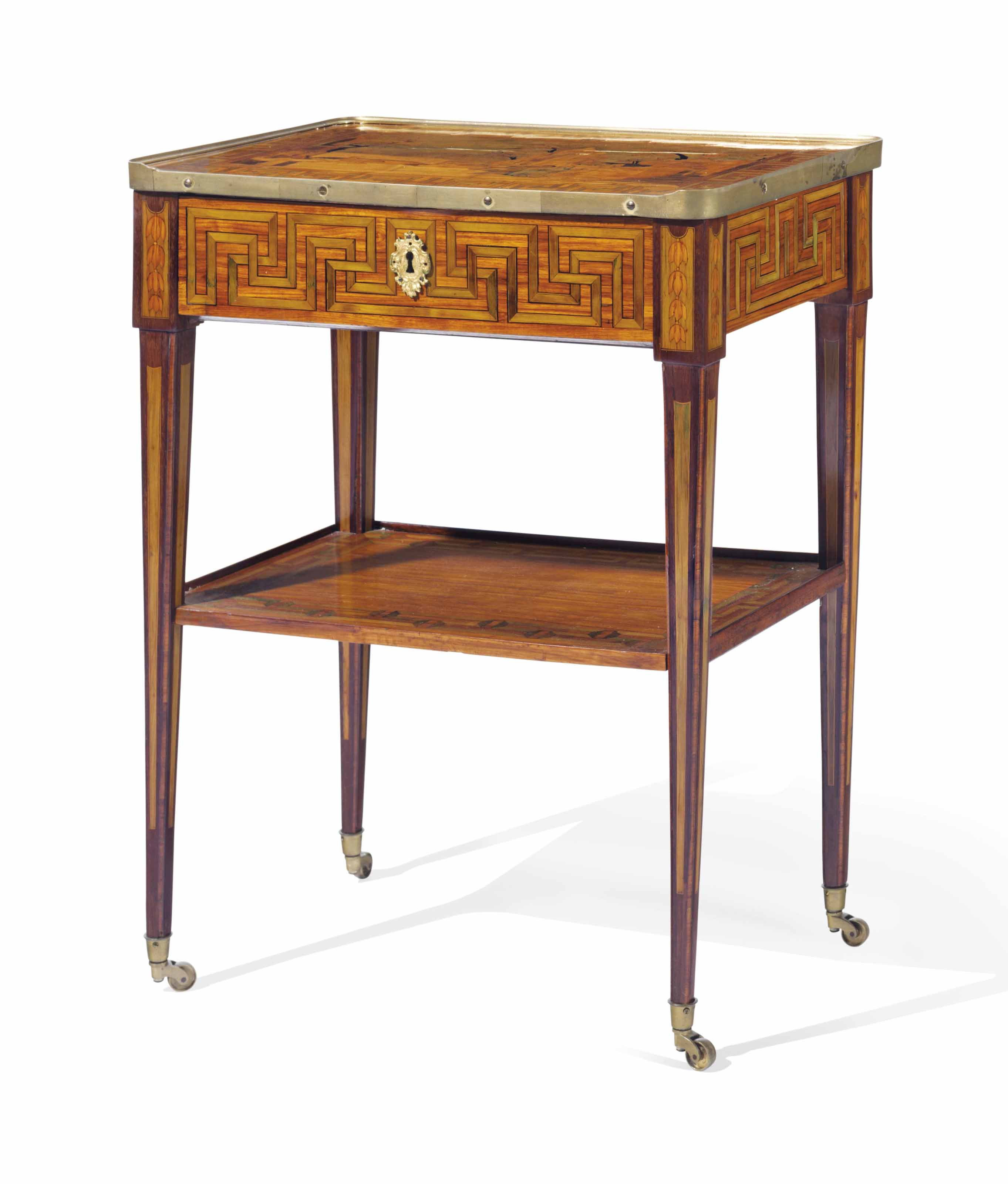A LOUIS XVI ORMOLU-MOUNTED AMARANTH, TULIPWOOD, MARQUETRY AND PARQUETRY WRITING TABLE