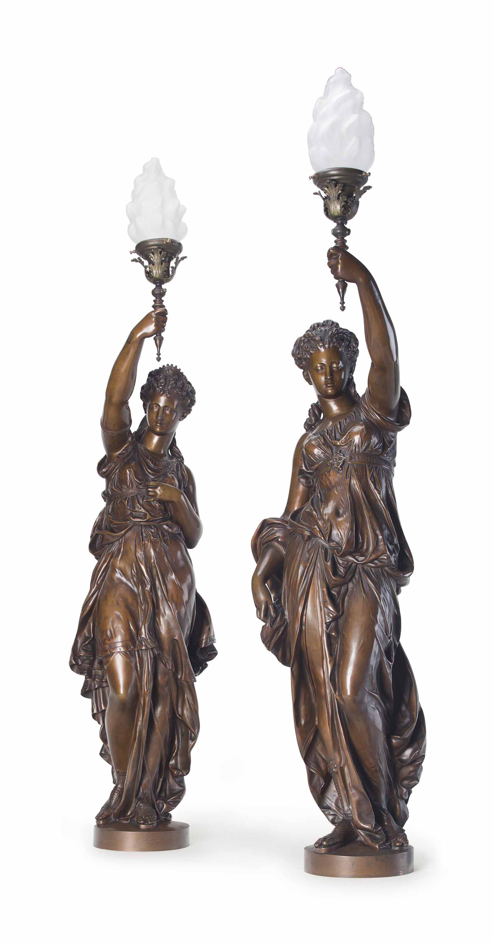 A PAIR OF LARGE FRENCH PATINATED-BRONZE TORCHÈRES