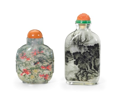 TWO INSIDE-PAINTED SNUFF BOTTL
