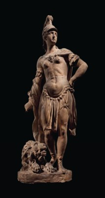 A TERRACOTTA FIGURE OF PALLAS