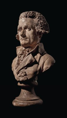 A TINTED PLASTER BUST OF JEAN-
