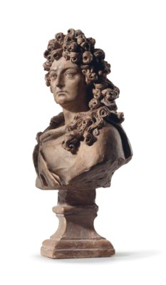A TERRACOTTA BUST OF LOUIS XIV