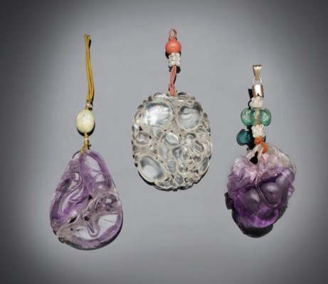 TWO AMETHYST PENDANTS AND A RO