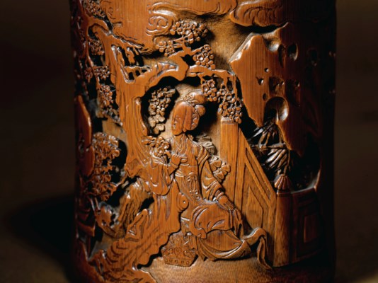 A FINELY CARVED BAMBOO BRUSH P