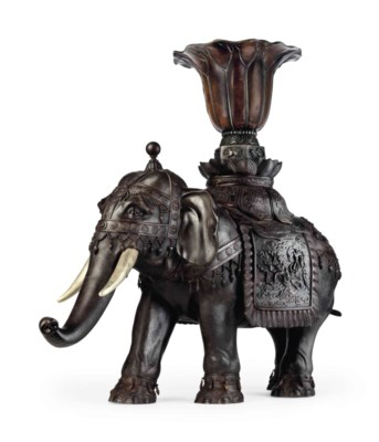 A large bronze model of an ele