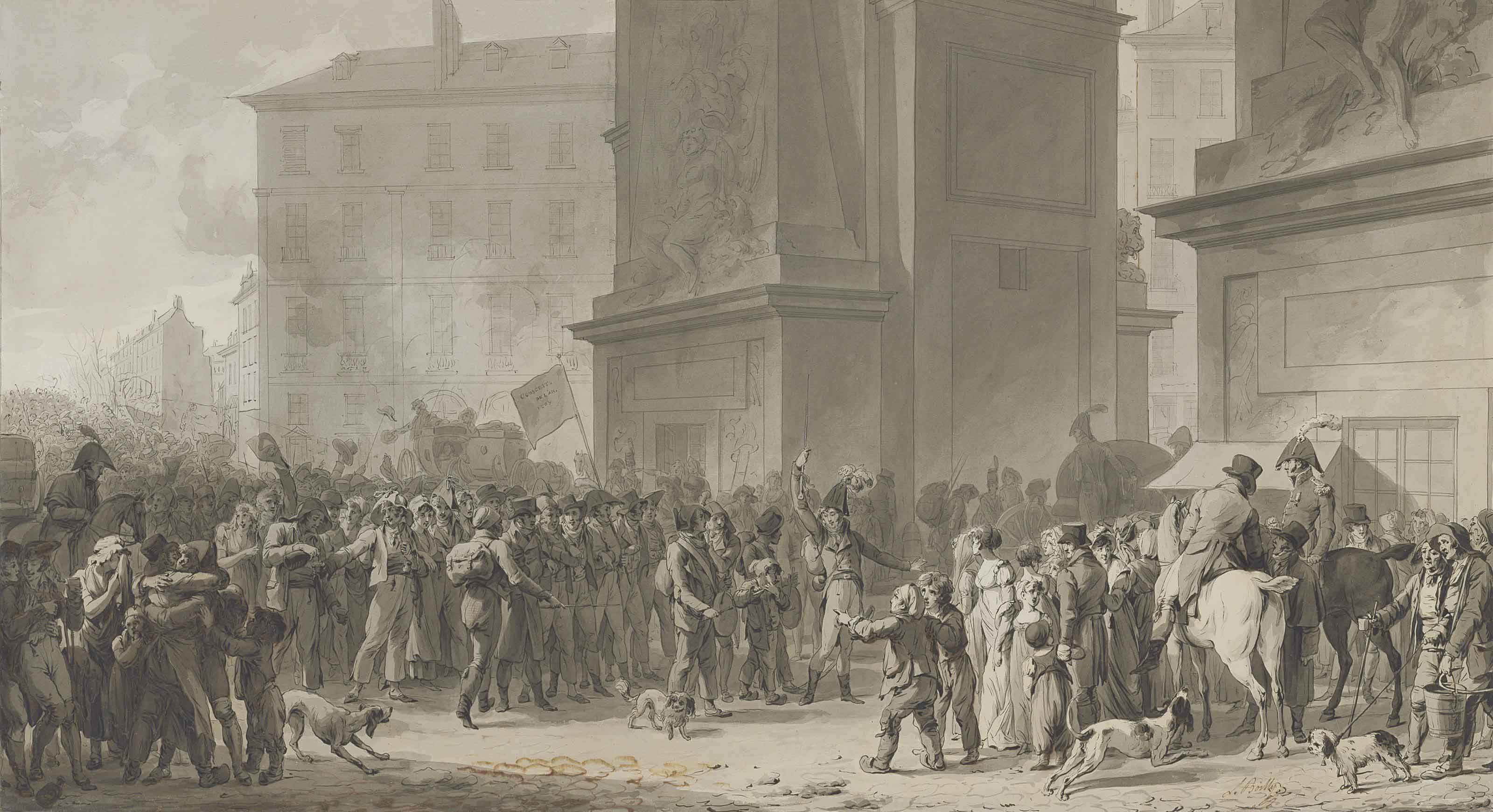 The departure of the conscripts on 2 February 1807 in front of the Porte Saint-Denis, Paris