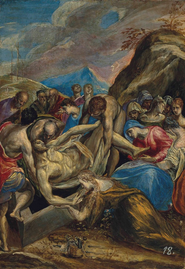 Doménikos Theotokopoulos, called El Greco (1541-1614), The Entombment of Christ. Oil on panel. 28 x 19.4 cm (11 x 7⅝ in). Sold for $6,101,000 on 14 April 2016 at Christie's in New York. © Christie's Images