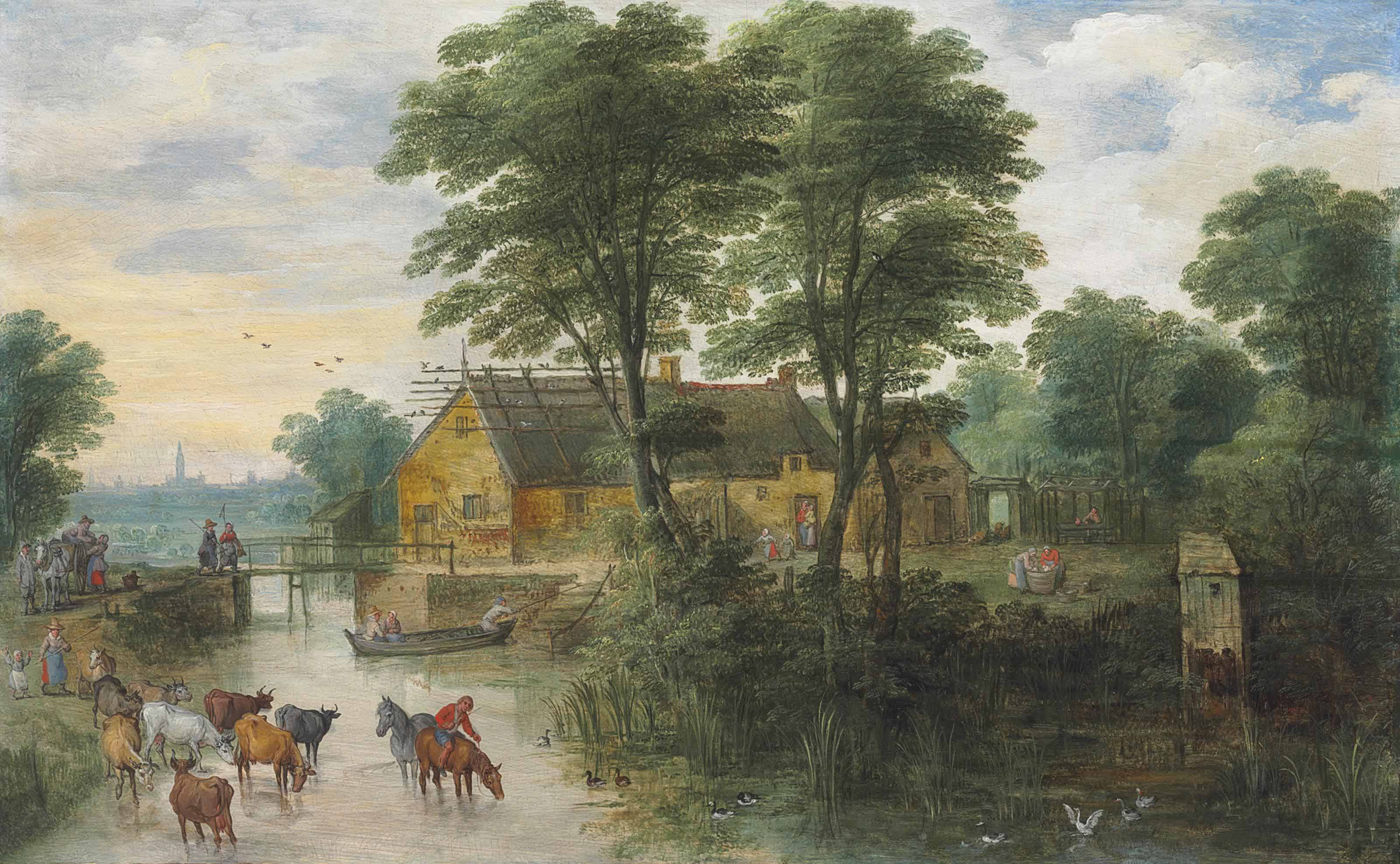 A river landscape with cottages and cattle, Antwerp in the distance