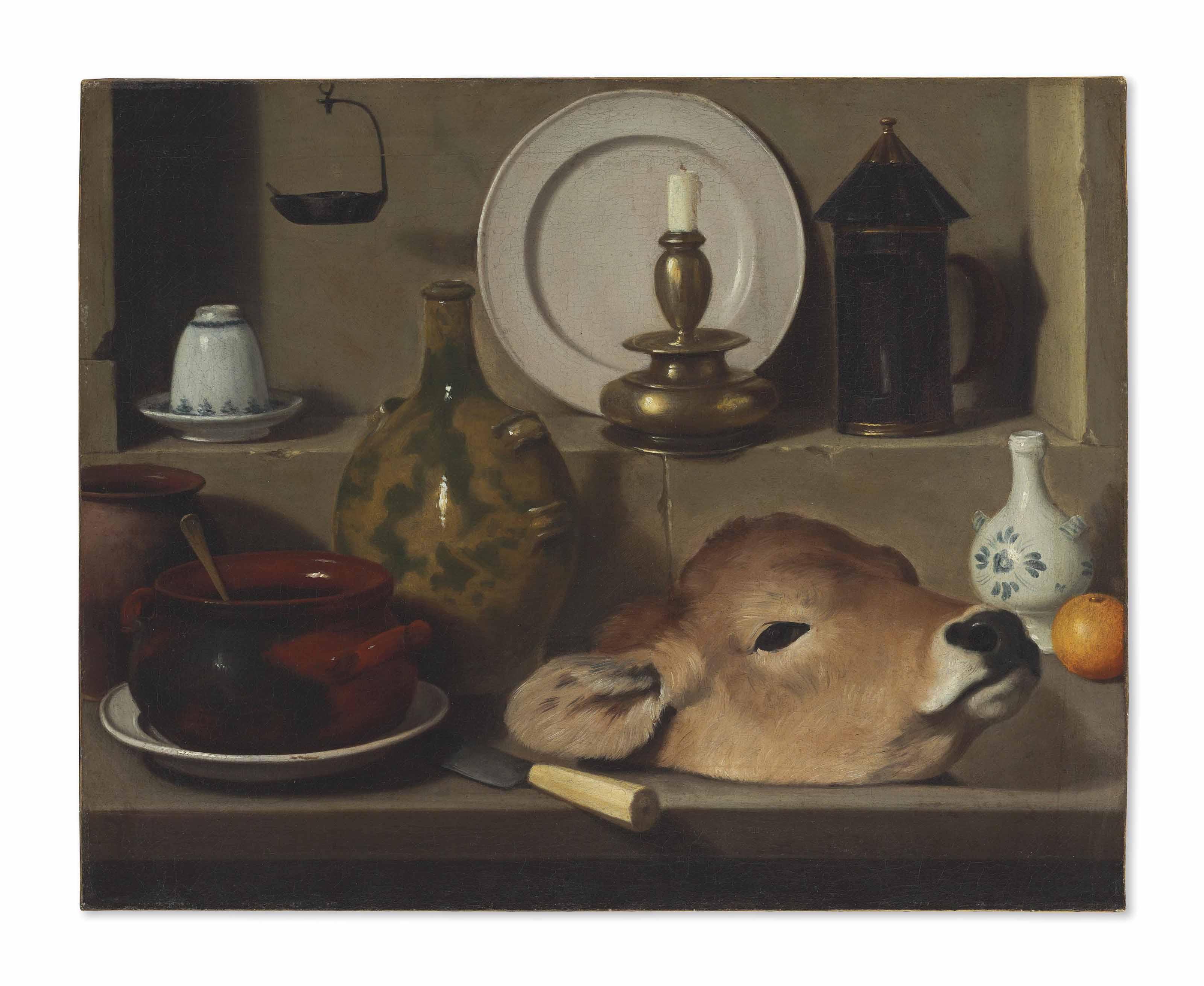An oil lamp, ceramics, brass lantern, knife, onion and calf's head