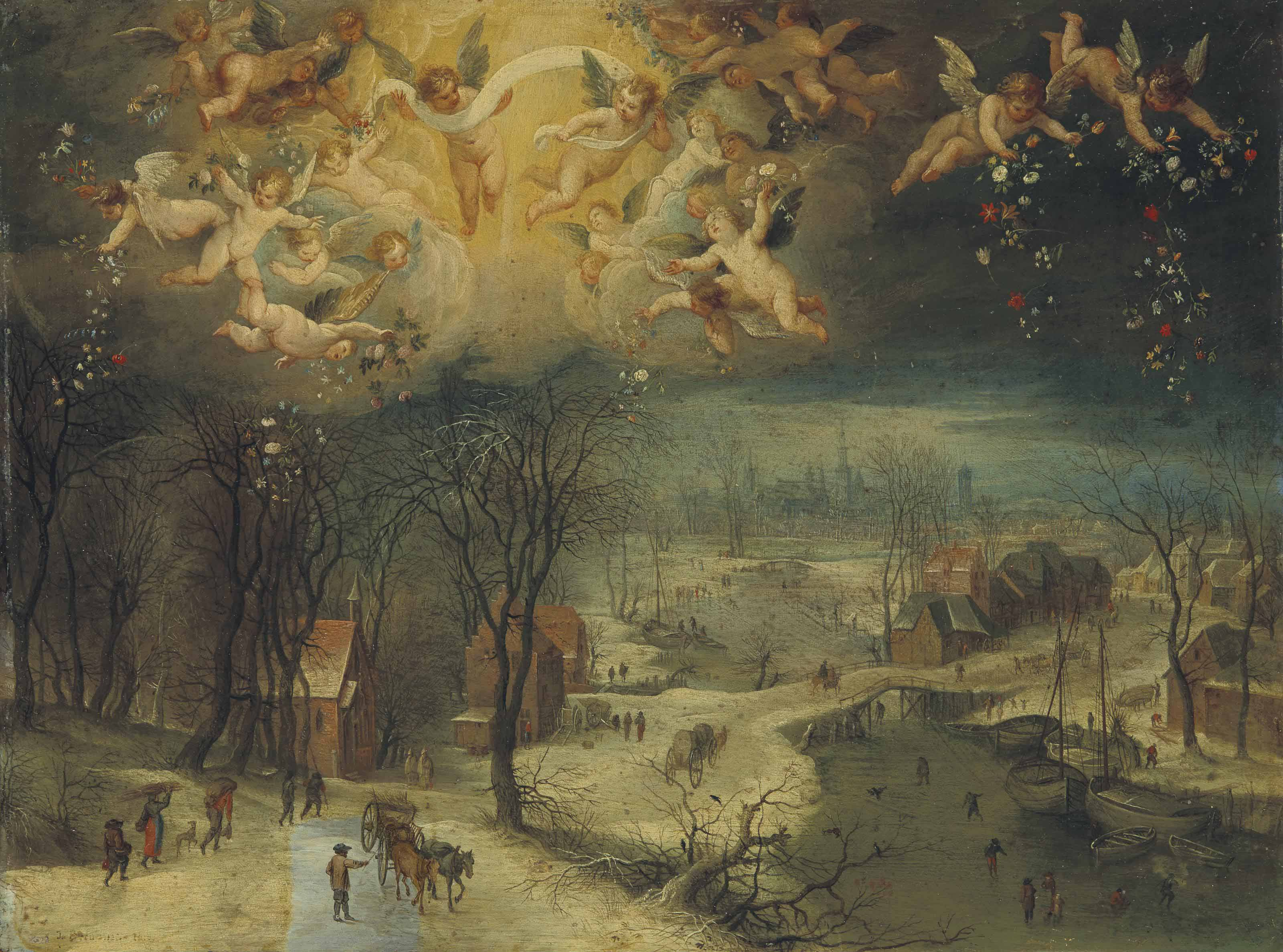 A winter landscape with villagers gathering wood and skaters on a frozen river, putti scattering flowers above