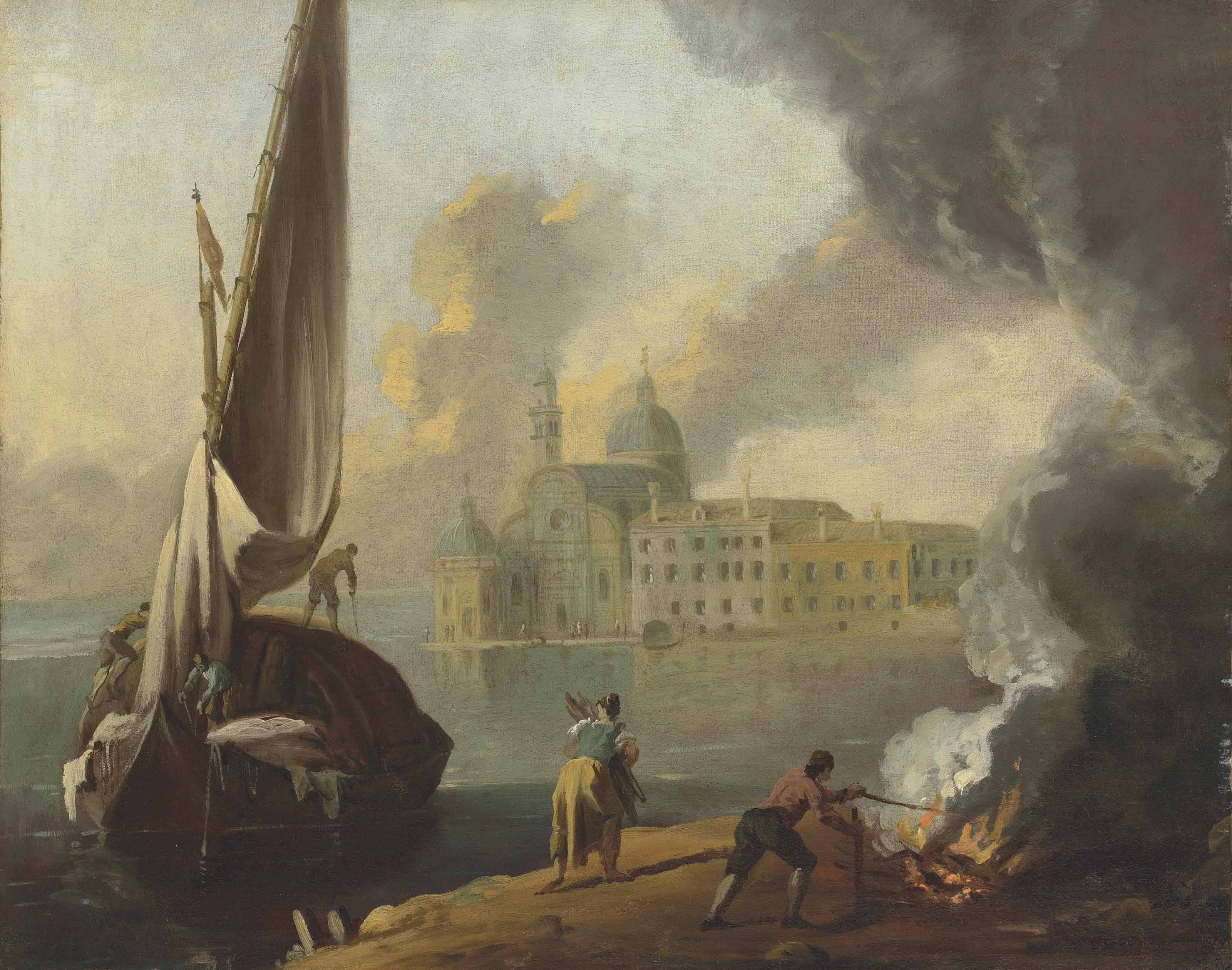 San Michele, Venice, with a boat docking and figures lighting a fire on the shore in the foreground
