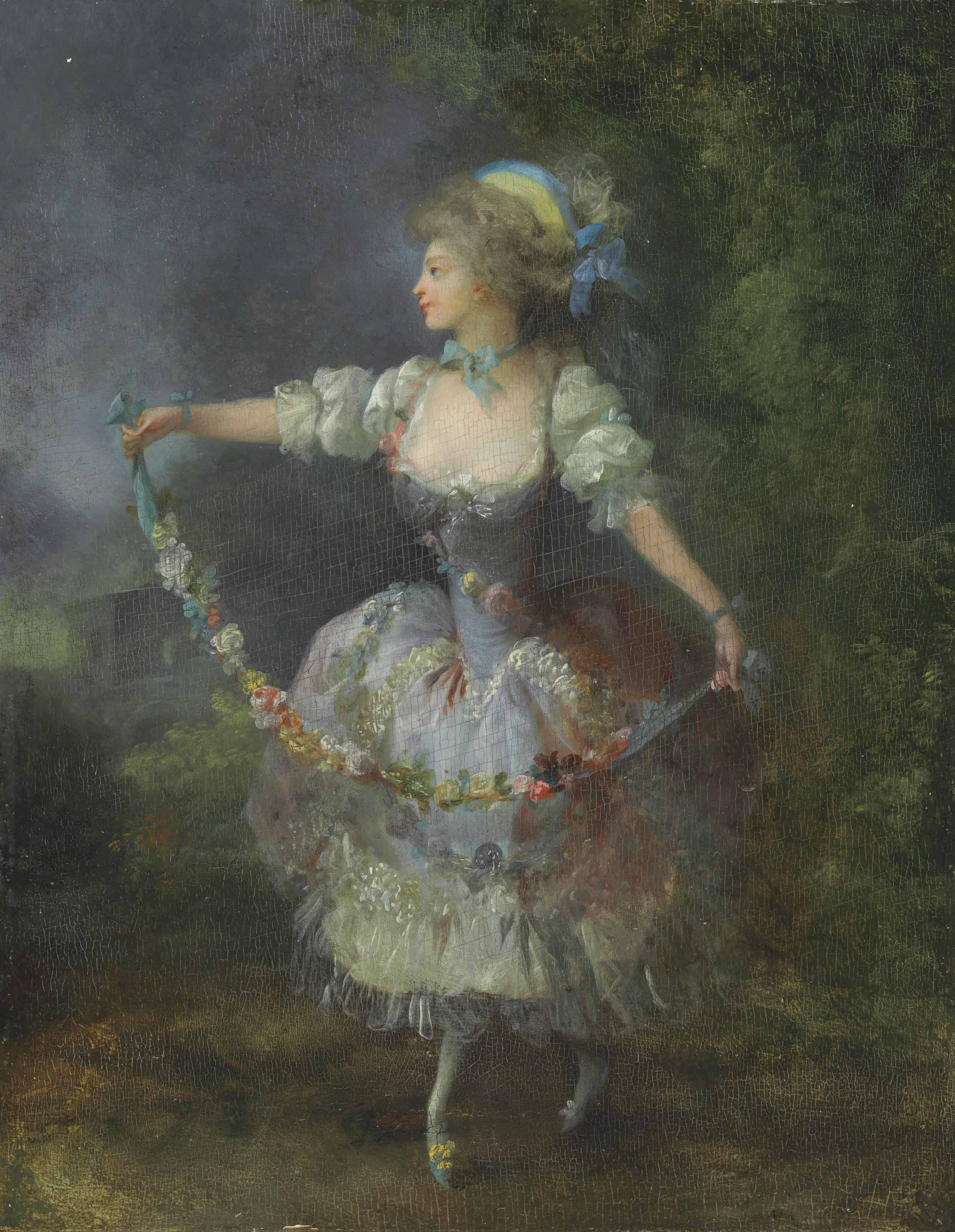 A girl dancing with a garland of flowers