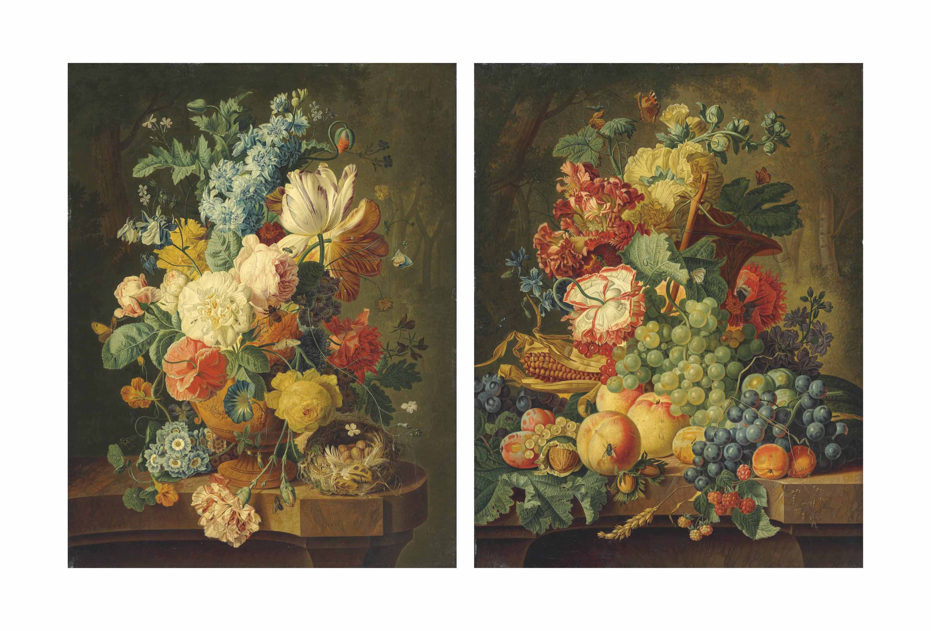 Tulips, poppies, carnations and other flowers in a vase with a bird's nest on a marble ledge; and Grapes, corn on the cob, peaches, plums, raspberries and mixed flowers on a marble ledge