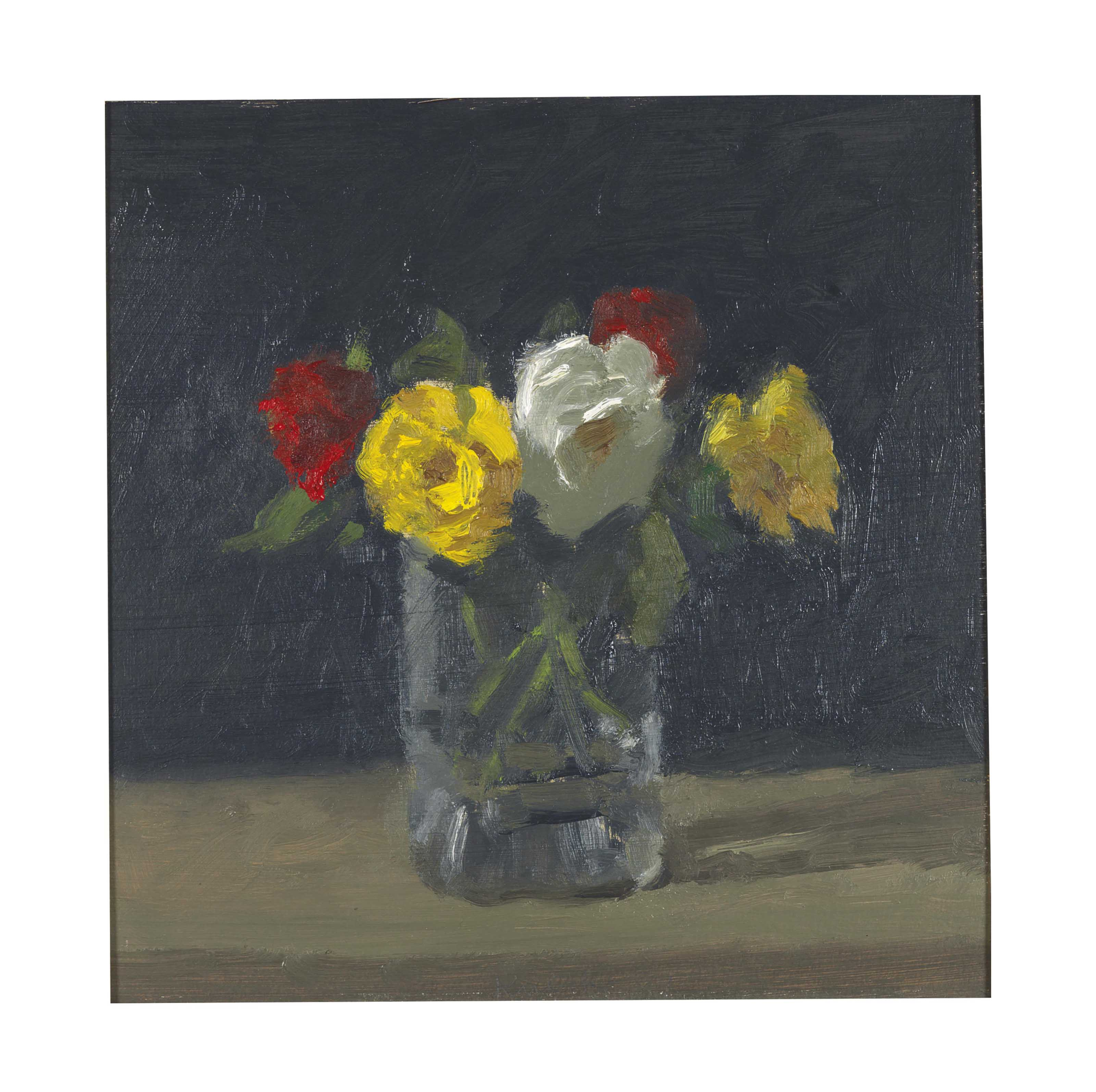 Full Roses in a Glass Vase with a Dark Background