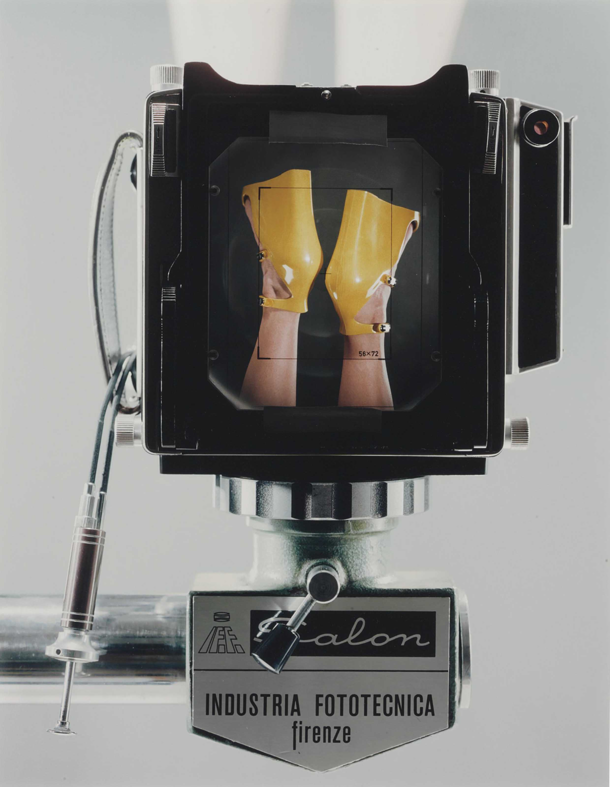 Linhof Technika V fabricated in Munich, Germany. Salon Studio Stand fabricated in Florence, Italy. Dual cable release. Prontor shutter. Symar-s lens 150mmm/f 5.6 Schneider kreuznach. Sinar fresnel lens placed with black tape on the ground glass.  (Yellow)  Dirk Sharper Studio, Berlin, June 19, 2007