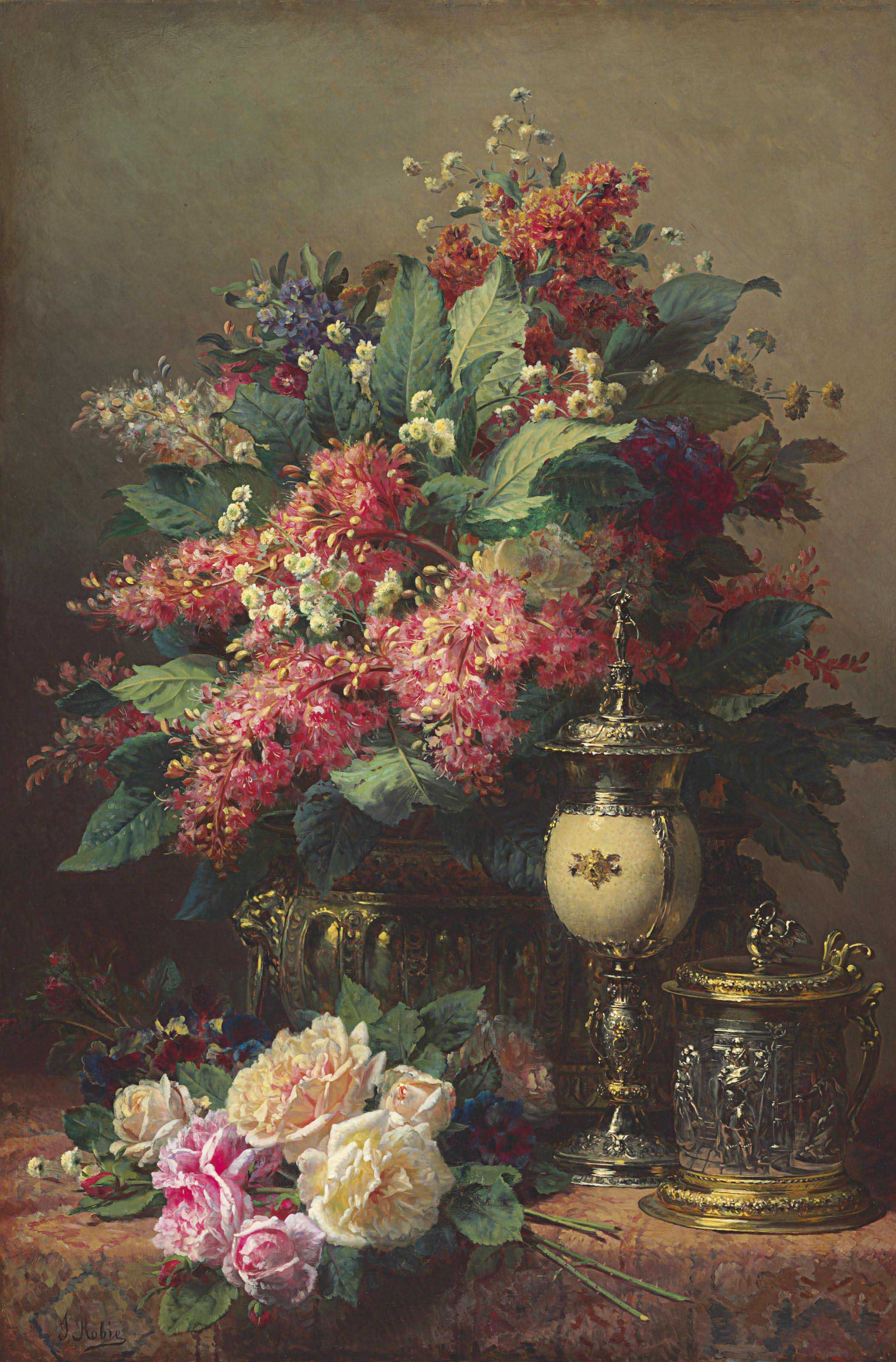 A Still Life of Chestnut Flowers, Wallflowers, Roses and Pansies with a Tankard and a Silver Gilt Ostrich Egg Cup