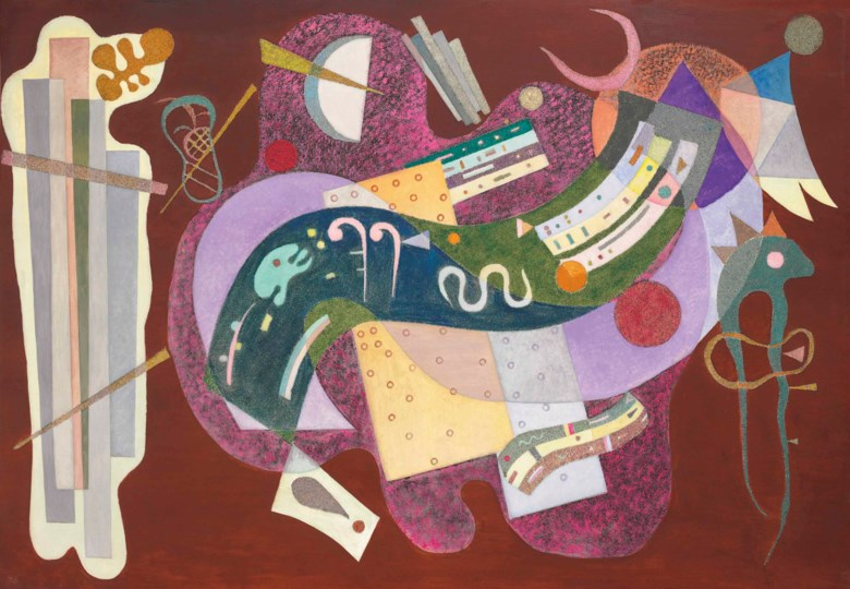Wassily Kandinsky (1866-1944), Rigide et courbé, executed in Paris, December 1935. 44⅞ x 63⅞  in (114 x 162.4  cm). Sold for $23,319,500 on 16 November 2016  at Christie's in New York