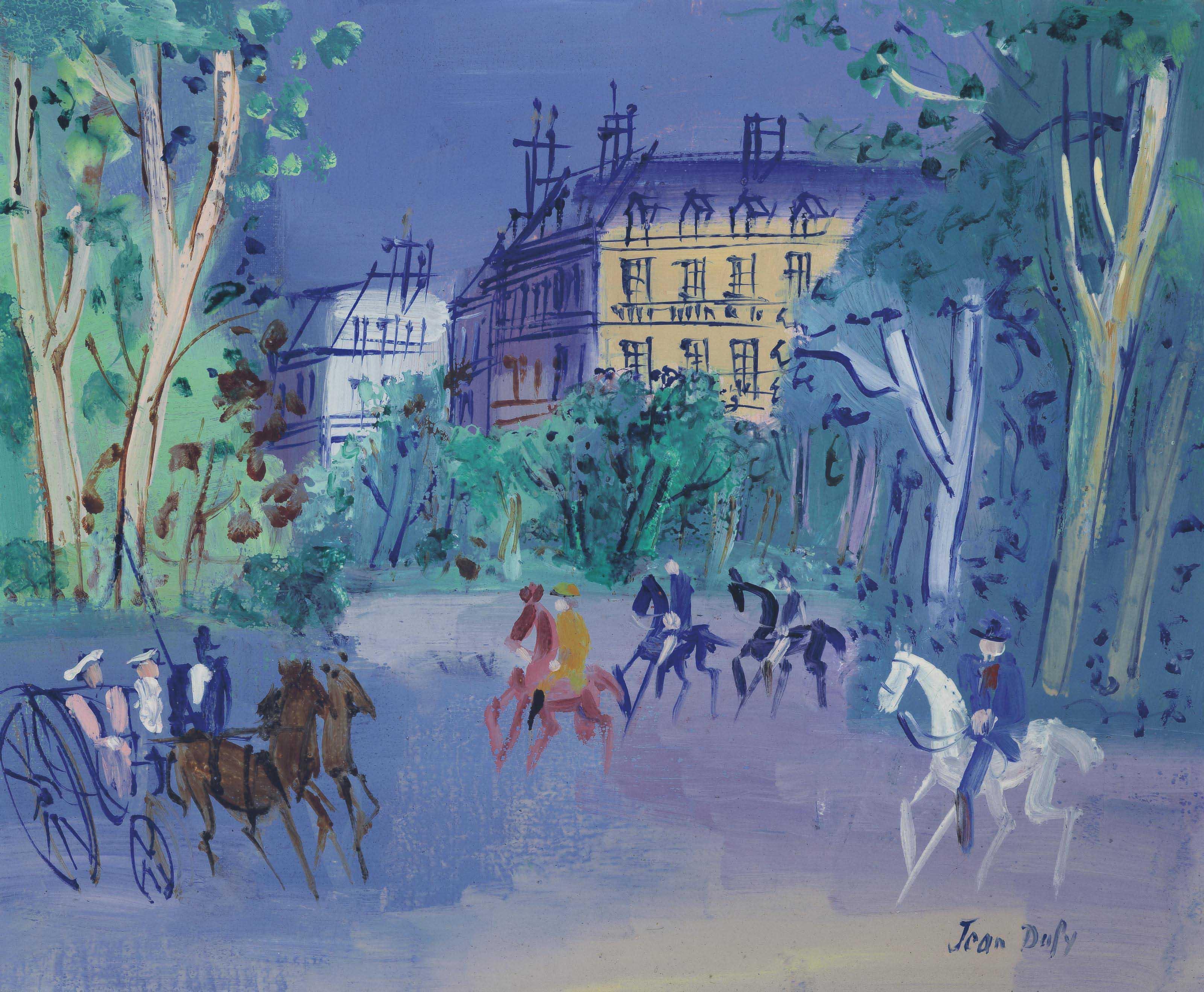 Calèche et cavaliers près du Bois de Boulogne