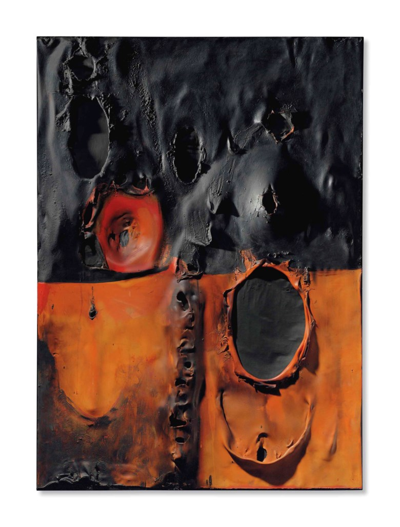 Alberto Burri (1915-1995), Rosso Combustione Plastica, 1957. 49¼ x 34⅝  in (125 x 88  cm). Sold for $4,951,500 on 15 November 2016  at Christie's in New York © Fondazione Palazzo Albizzini Collezione Burri, Città di Castello – DACS 2018
