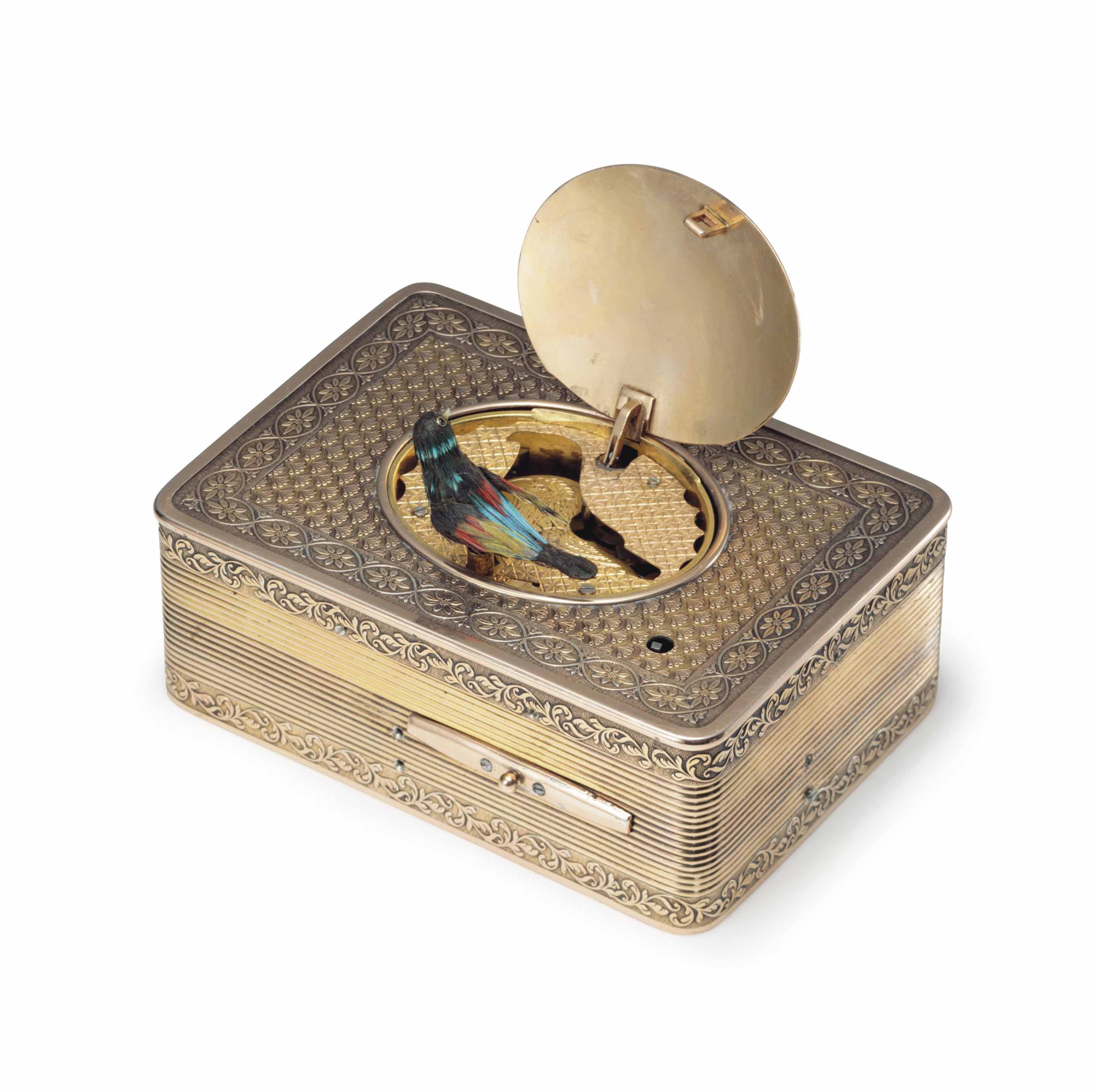 Frères Rochat. A Fine and Rare Silver-gilt and Enamel Singing Bird Box with Original Presentation Box