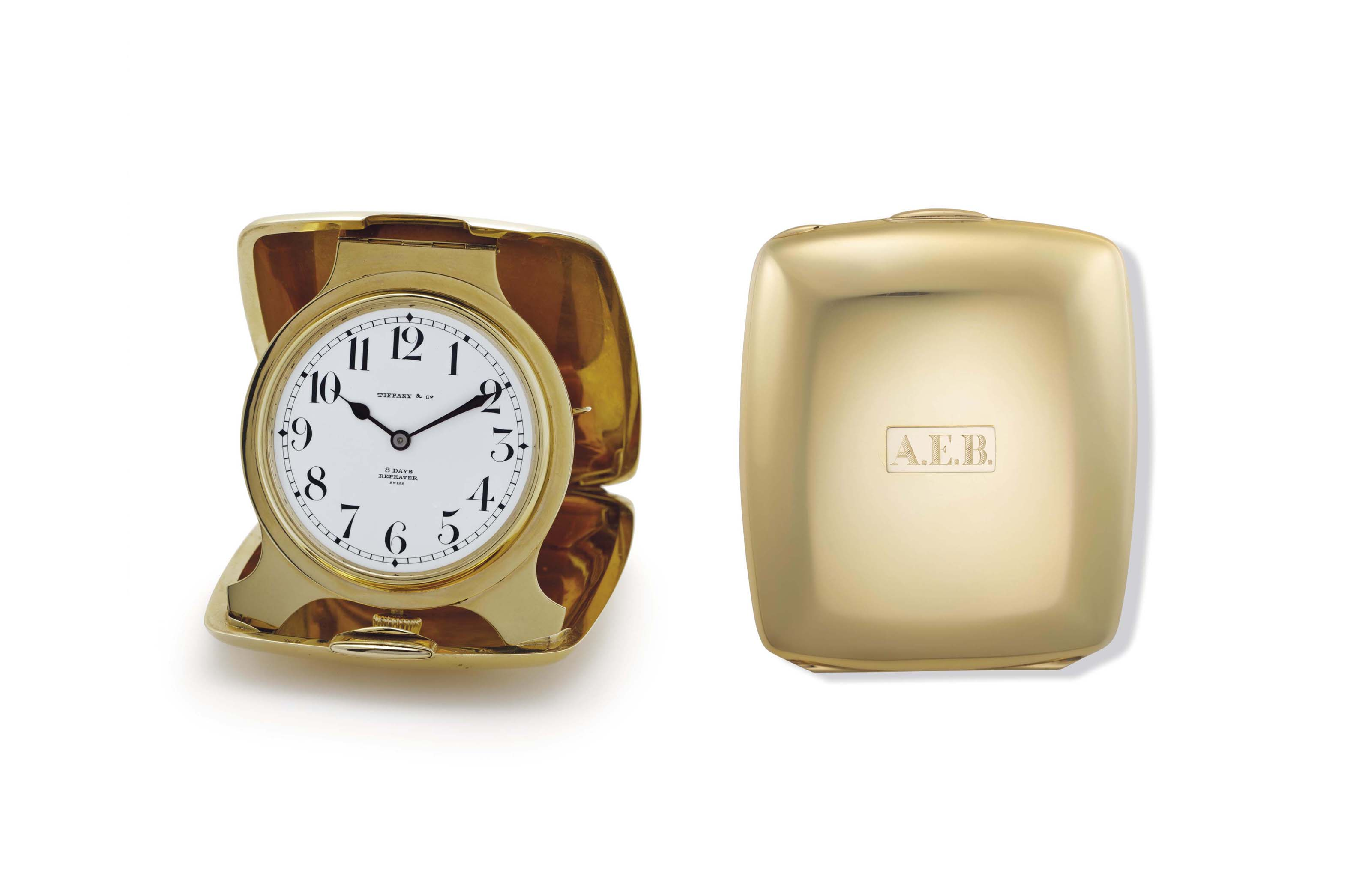 Wittnauer/Tiffany & Co. An 18k Gold Quarter Repeating Folding Travel Clock