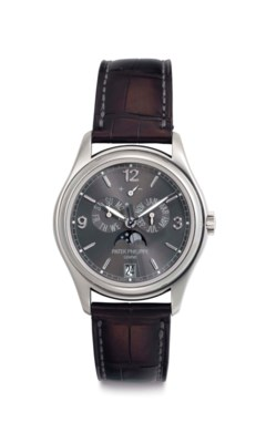 Patek Philippe A Fine 18k White Gold Automatic Annual Calendar Wristwatch with Moon Phases