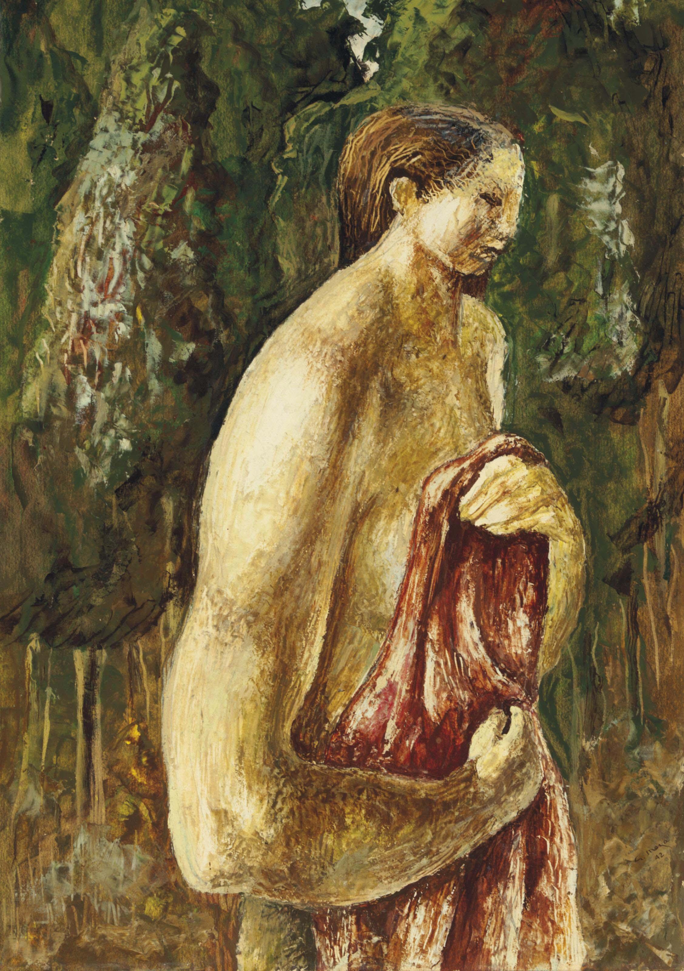 Mujer con manto rosa