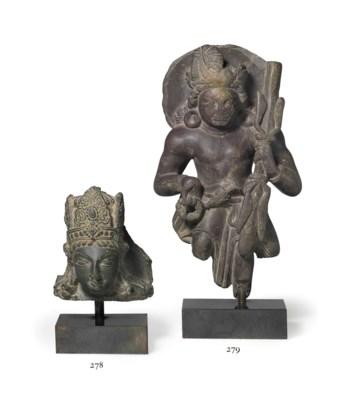 A stone figure of Skanda