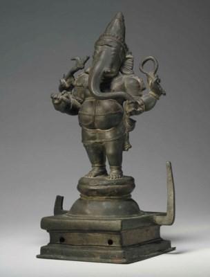 A bronze figure of Ganesha