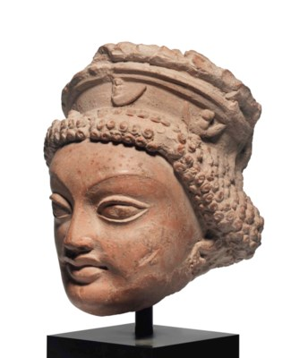 A TERRACOTTA HEAD OF ARTEMIS