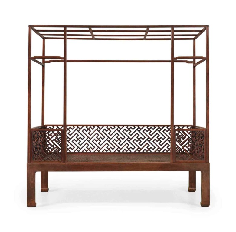 A magnificent six-post Huanghuali canopy bed, Jiazichuang, Late 16th-early 17th century. 80¾  in (205.1  cm) high, 81½  in (207  cm) wide, 41⅞  in (106.4  cm) deep. Sold for $845,000 on 16 September 2016  at Christie's in New York