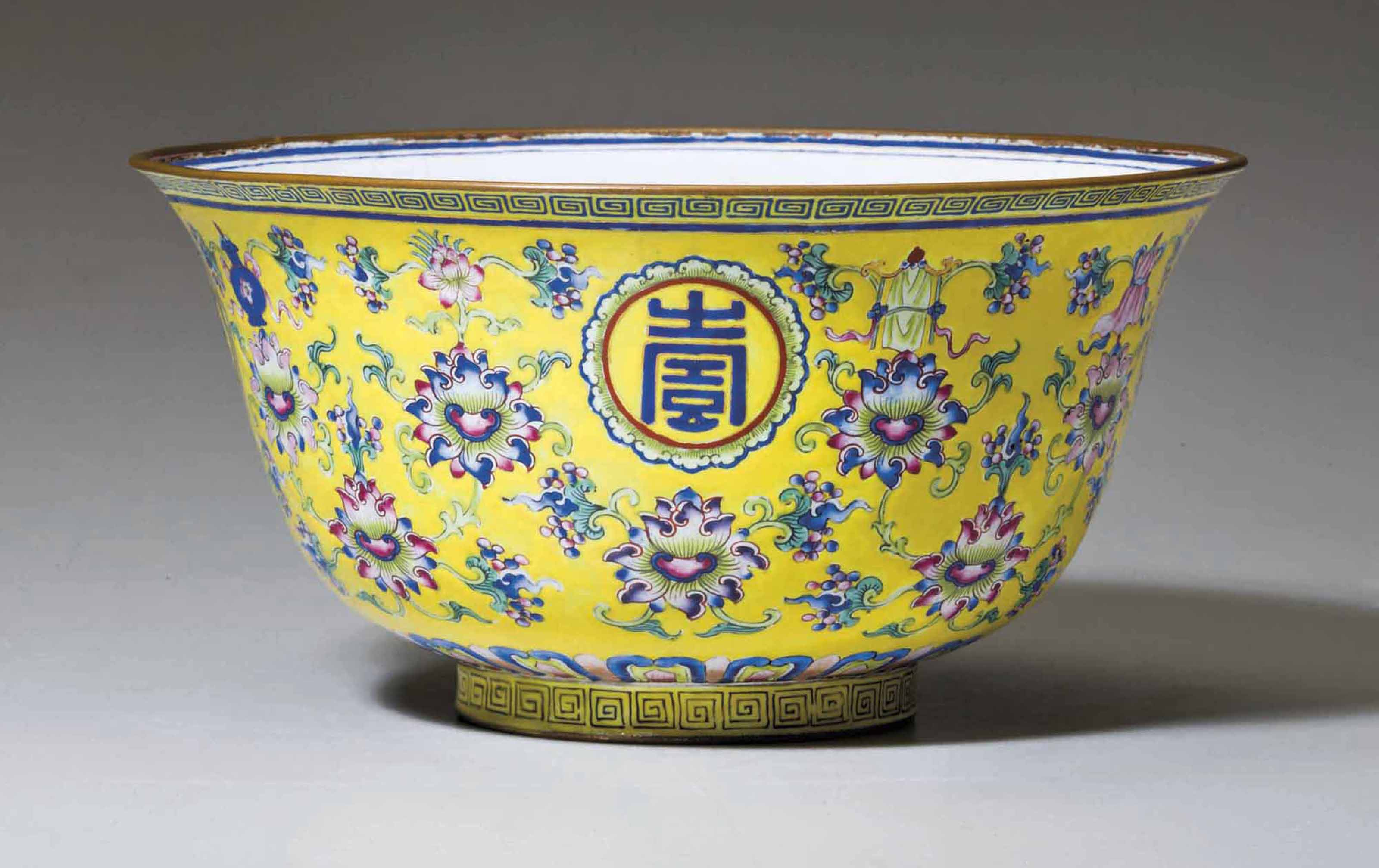 A PAINTED ENAMEL YELLOW-GROUND