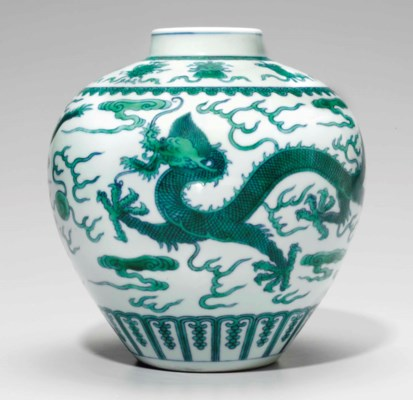 A GREEN-GLAZED AND UNDERGLAZE-
