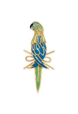 AN ENAMEL AND MULTI-GEM PARROT
