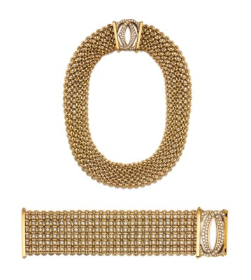 A SET OF DIAMOND AND GOLD 'C D